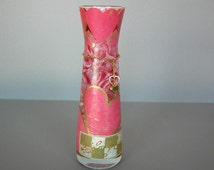 Modern Glass Vase, Romantic Red Hearts and Roses, Valentine's Day Gift, Recycled Glass Vase