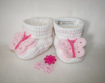 Pink Butterfly Baby Booties Newborn to 6 Months or 6-12 Months Finely Finished Crochet Baby Gift