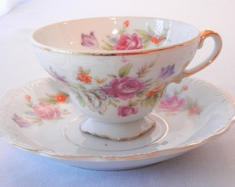 Wales China Teacup Set, Pink Roses Floral with Footed Cup and Gold Trim, Made in Japan