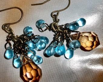 Swarovski and Czech glass earrings OOAK with bronze