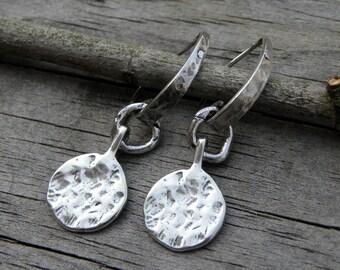 Artisan Sterling Silver Earrings Handcrafted Textured Organic Urban Modern Rustic Unique OOAK