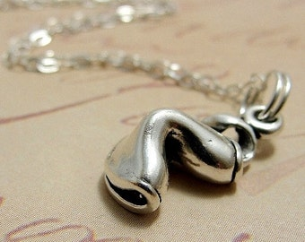 Chinese Fortune Cookie, Sterling Silver Fortune Cookie Charm on a Silver Cable Chain