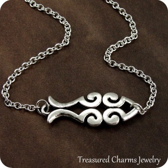 Christian ichthus fish scroll necklace silver jesus fish for Jesus fish necklace
