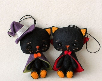Halloween - Itty Bitty Vampire and Witch Kitties pdf Pattern