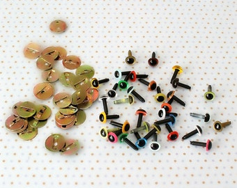 6mm Craft, Safety, Animal Eyes Coloured - 5 Pairs