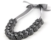 Grey Chunky 5 Pleat Statement Ribbon Necklace