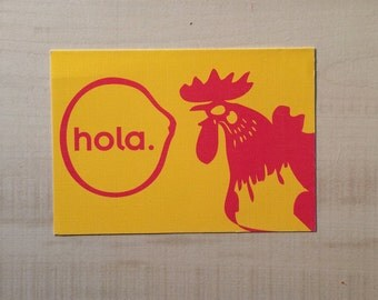 Hola/ Hello Rooster Notecard