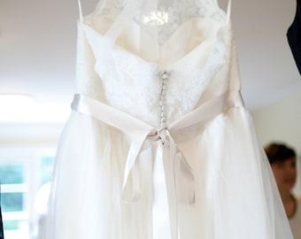 "Silver 1 1/2"" 50mm Wide Silky Satin Ribbon Wedding Gown Sash"