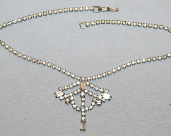 Vintage / Rhinestone / Necklace / Baguettes / Old Jewelry / Jewellery