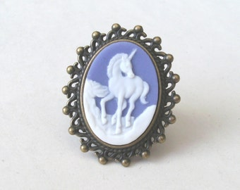 Mystical Unicorn Ring, Purple Unicorn Cameo Ring, Antique Bronze Lace Edge Setting