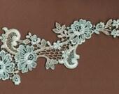 Hand Dyed Floral Venise Lace Applique  Antique Turquoise