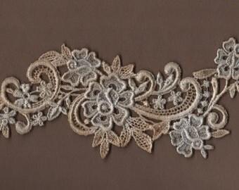 Hand Dyed Floral Venise Lace Applique Rose Scroll Aged Denim
