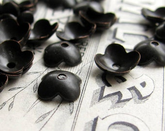 7mm black bead cap, black antiqued brass flower petal bead caps  (30 bead caps) small, simple bead caps