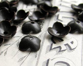 7mm black bead cap, black antiqued brass flower petal beadcaps  (20 bead caps) small, simple bead caps