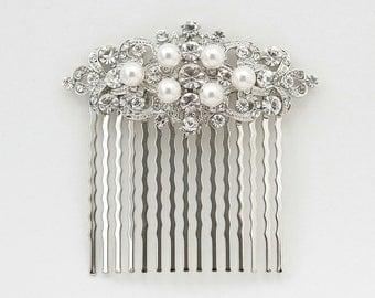 Crystal Bridal Hair Comb Silver Hair Comb Bridal Jewelry Wedding Jewelry Pearl Bridal Headpiece