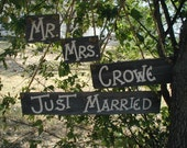 Rustic Wedding Wood Hanging Sign Set Mr and Mrs Personalized Name and Just Married Prop