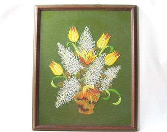 "vintage crewel work flower picture framed handcrafted handmade mid century modern retro decorative home decor green yellow white orange 22"""