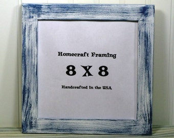 8x8 picture frame distressed wedding frame wood frame white blue shabby chic rustic