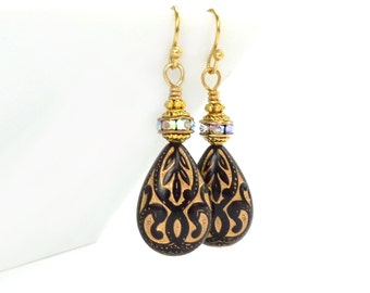 Black & Gold Teardrop Earrings - Rhinestone Vintage Style Earrings - Elegant Victorian Style Jewelry - Gift for Her