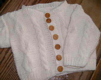 Baby Cardigan pattern, size 0-9 months, aran, cables, PDF file ONLY