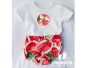 Personalized Watermelon Outfit includes Custom Shirt and Diaper cover