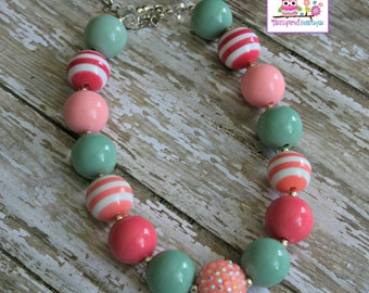 Bubblegum Beads Kids Necklace Mint Pink M2M Chunky Girls Necklace