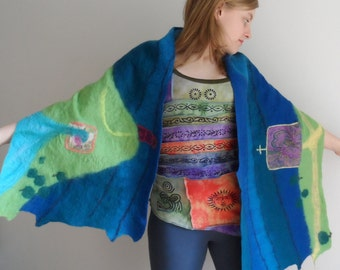 Nuno Felted Wrap - AVALON - Blue and Green Embroidered Pictorial Wrap