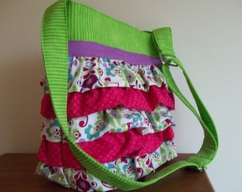 Ruffled Purse,  Crossbody Bag,  Adjustable Strap, Hot Pink, Lime Orchid, Spring Brite Cross Body Bag, Womens Accessory Fabric Purse