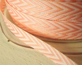 Chevron Stripes Pink and White Chevron Twill Stripes Ribbon 1/4 wide 2 yards