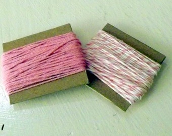 Pink and white twine Cotton Candy and Solid Light Pink Divine Twine 10 yards each 20 yards total