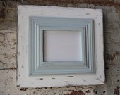 8x10 Wide Wood Uber Distressed Wood Frame Crown Trim in Tradewinds and Whitewash Frame