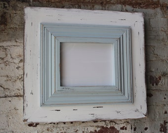 8x10 wide wood uber distressed wood frame crown trim in tradewinds and whitewash frame