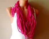 Dark magenta pink T-Shirt Scarf Necklace , frayed tshirt necklace with small fringe  ties