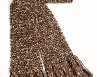 Brown Scarf 6 ft Long Chunky Knit Scarf Men Women Winter Scarf Tan Hand Knitted Scarf