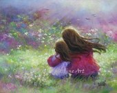 Mother Daughter Art Print, loving mother brunette daughter, paintings, girls room, wall art, garden flowers, mother's day, Vickie Wade art