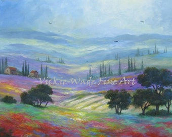 Tuscany Fields Original Oil Painting 24X24 landscape art italy countryside paintings canvas wall art, Vickie Wade