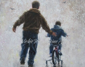 Father and Son Art Print, dad and son boy paintings, first bike ride, boys room wall art, gift for Dad,  Vickie Wade