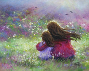 Mother and Daughter Art Print, loving mother brunette daughter, paintings, girls room, wall art, garden, mother's day, Vickie Wade art