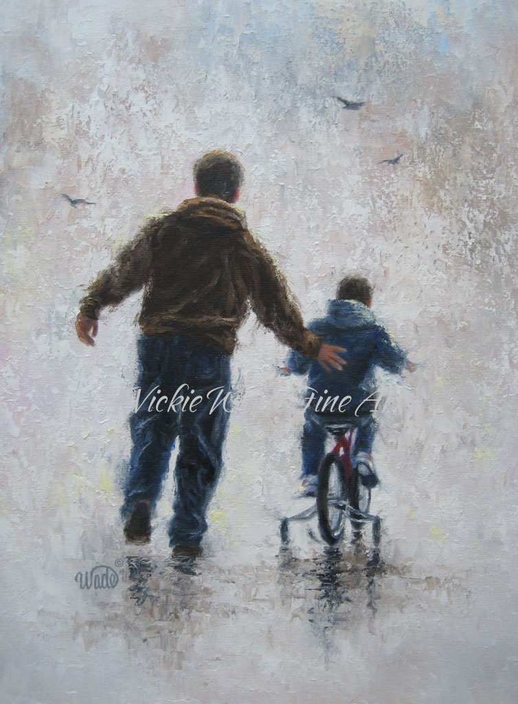 Father And Son Art Print Dad And Son Paintings First Bike