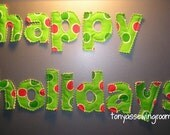Happy Holiday's magnets in Red and Green Polka Dots Fabric LOWERCASE magnetic saying-Christmas-Happy Holiday's-