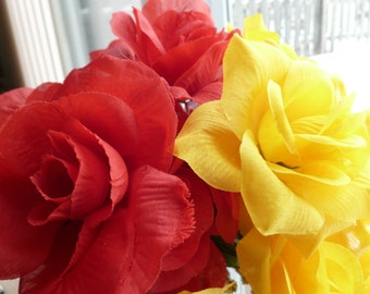 Wedding Favors 18 Flower Pen Set Guest Book Roses Scarlet Red Yellow  Party Valentine's Mother's Day