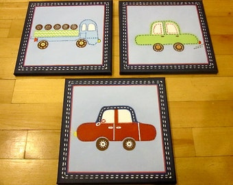 """3 pc """"Backseat Driver"""" car and truck canvas art set for boys room"""