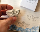 Cute paper boat hand carved rubber stamp