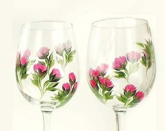 Hand Painted Wine Glasses - Deep Rose Pink Climbing Roses Change to Pastel Pink, Green Leaves, Set of 4 - Housewares Glassware Hostess Gift