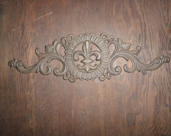 Fleur de Lis cast iron decorative door or wall decor antique finish Shabby and Chic