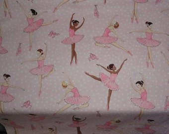 Lady Ballerina Fabric Cotton Pink Tutu Ballet Dancer Ballet Shoes quilting sewing