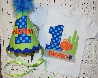 Little Boys Summer Fish Under the Sea Birthday Applique Shirt and Hat- Free Personalization-- All birthday numbers are available