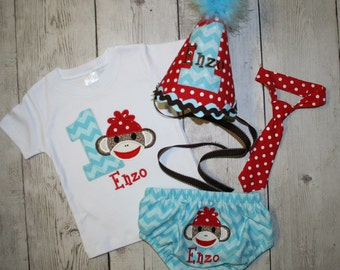 Sock Monkey Birthday Shirt and Personalized Diaper cover and Birthday Hat and Little Man Tie-Cake Smash Outfit- Photo Prop-Monkey Birthday