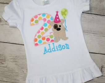 Puppy Dog Birthday Shirt- Pink, Bright Blue, Bright Green Girls Birthday Shirt, Doggy Birthday Shirt, It's a PAW-TY Shirt