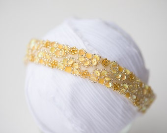 NEWBORN yellow beaded sequin halo heaband photo prop rEaDy To ShIP